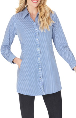Foxcroft Cici After Party Stripe Non-Iron Stretch Tunic Shirt
