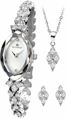 Accurist Womens Japanese Quartz Silver Tone Watch Gift Set With Pendant And Earrings Oval Case With Bevelled Czech Crystal Glass Bezel Jewellery Type Clasp Mother Of Pearl Dial 2 year guarantee.