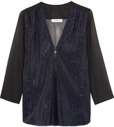 Sandro Metallic woven-paneled chiffon top