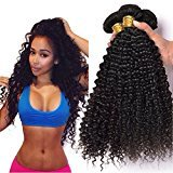 Brazilian Curly Virgin Hair Weave 3 Bundles 100% Unprocessed Human Hair Extensions Natural Color Can Be Dyed and Bleached Tangle Free (10 12 14)