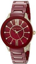 Anne Klein Women's AK/1672BYGB Swarovski Crystal Accented Burgundy Ceramic Bracelet Watch