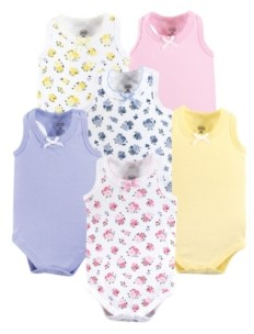 Luvable Friends Unisex Baby Sleeveless Bodysuits, Floral Pink 6-Pack, 0-24 Months