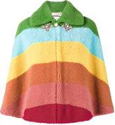 Gucci cropped striped cape - women - Silk/Lamb Fur - 40