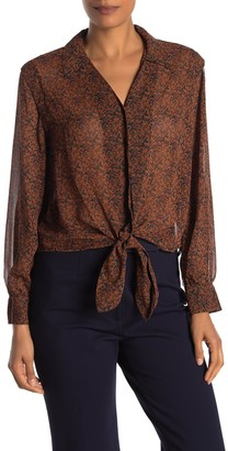Pleione Long Sleeve Tie-Front Blouse