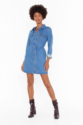 Nasty Gal Womens Wash Your Every Move Button-Down Mini Dress - blue - 4