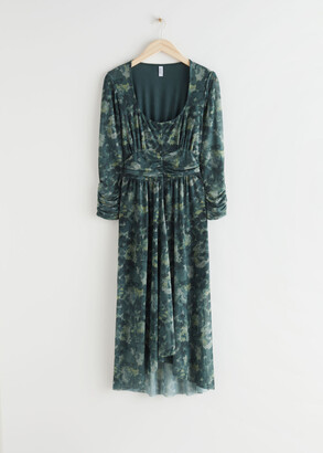 And other stories Gathered Square Neck Midi Dress