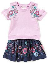 Flapdoodles Little Girls 2T-6X Cold-Shoulder Top & Floral-Print Skort Set