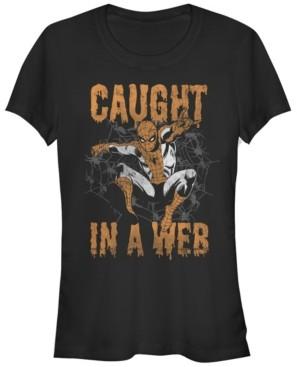 Fifth Sun Marvel Women's Spider-Man Caught in A Web Halloween Short Sleeve Tee Shirt
