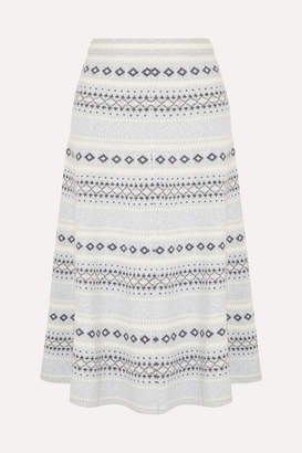ADAM by Adam Lippes Fair Isle Knitted Midi Skirt - Light gray