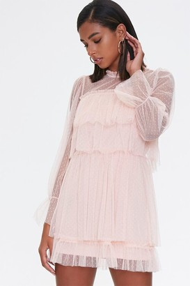 Forever 21 Swiss Dot Ruffle-Trim Dress