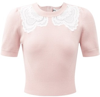 Self-Portrait Lace-insert Knitted Top - Light Pink