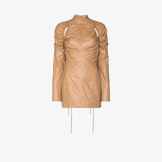 ALEKSANDRE AKHALKATSISHVILI Faux Leather Ruched Cutout Mini Dress