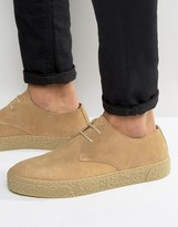 Asos Lace Up Derby Shoes In Stone Suede