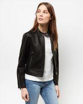 Jaeger Leather Raw Edge Biker Jacket