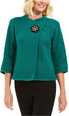 JM Collection Holiday Party Metallic Textured Brooch Sweater Jacket