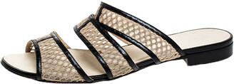 Chanel Beige Mesh And Black Leather Trim Slide Flats Size 39