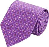 Barneys New York MEN'S MEDALLION-PRINT SATIN NECKTIE-PURPLE