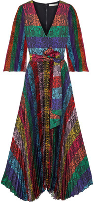 Alice + Olivia Meryl Pleated Snake-print Color-block Satin Maxi Dress