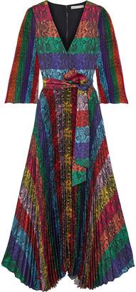 Alice + Olivia Meryl Pleated Snake-print Color-block Satin Maxi Dress