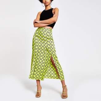 River Island Womens Green chain print midi skirt