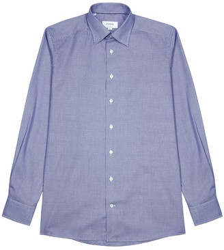 Eton Blue contemporary cotton-jacquard shirt