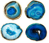 Mapleton Drive S/4 Gold-Rimmed Agate Coasters, Blue