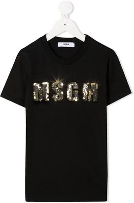 Msgm Kids sequin logo T-shirt