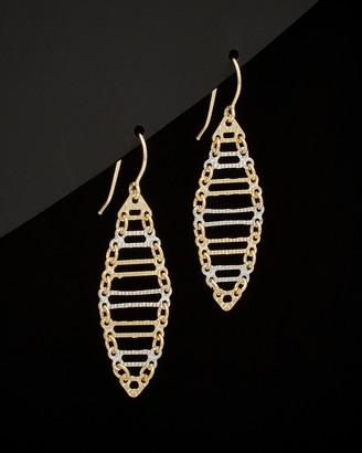 Italian Gold 14K Two-Tone Oval Drop Earrings