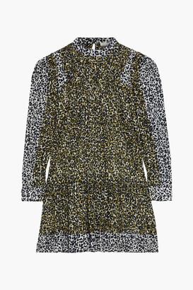 Ulla Johnson Amira Pintucked Leopard-print Cotton-voile Mini Dress