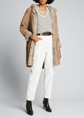 Brunello Cucinelli Soft Pleat Ankle Jeans with Contrast Stitching