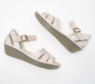 Fly London Leather Quarter Strap Wedges - Rese