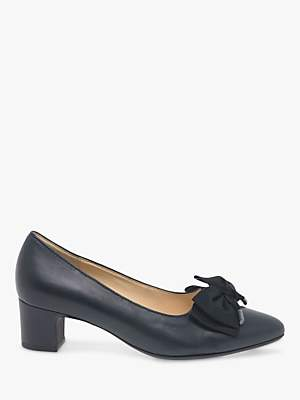 Gabor Enid Leather Bow Detail Low Heeled Court Shoes, Ocean Blue