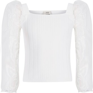 River Island Girls White organza long sleeve knitted top