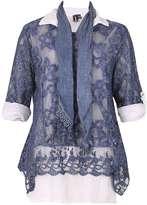 Izabel London *Izabel London Blue Long SLeeve Top With Scarf