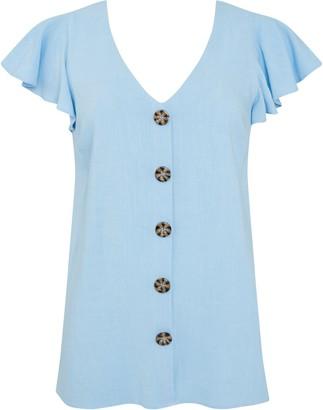 Wallis Blue Frill Sleeve Linen Blouse