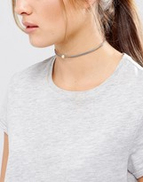 Dogeared Pearls Of Happiness Love Friendship Gray Leather Choker