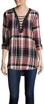 Arizona Long-Sleeve Lace Up Plaid Shirt- Juniors