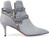 Valentino The Rockstud Leather-trimmed Suede Ankle Boots - Light blue