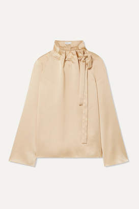 Rosetta Getty Tie-neck Satin Blouse - Beige