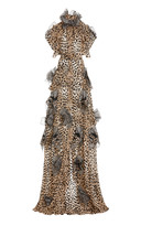 Maticevski Petal-Embellished Satin Gown with Belt
