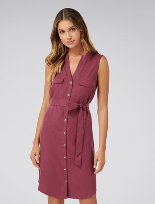 Forever New Melissa Sleeveless Shirt Dress - Berry Bliss - 4