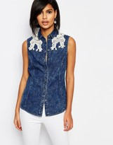 Vero Moda Lace Detail Sleeveless Denim Shirt