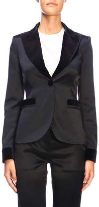 Moschino Blazer Single-button Jacket With One Button And Velvet Details