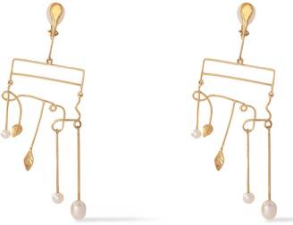 Aurelie Bidermann Gold-plated Pearl Clip Earrings