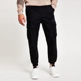 Mens River Island Black slim fit cargo trousers