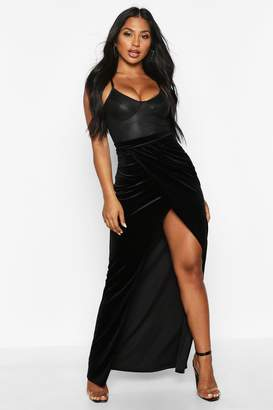 boohoo High Waist Wrap Front Velvet Maxi Skirt
