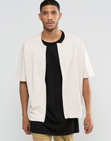 Asos Oversized Short Sleeve Jersey Bomber Jacket In Pink
