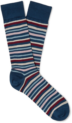 Marcoliani Milano Striped Pima Cotton-Blend Lisle Socks