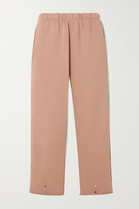 LES TIEN Cropped Cotton-jersey Track Pants - Pink