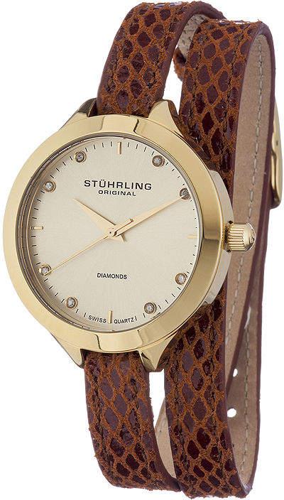 Stuhrling Original Sthrling Original Womens Diamond-Accent Brown Leather Wrap Watch